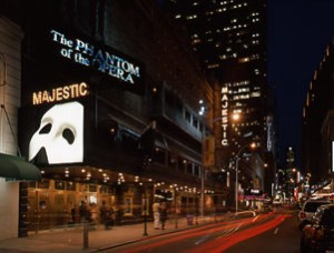 The Phantom of the Opera is Playing in the Majestic Theatre in New York City