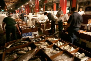 Fish being packed at the Fulton Fish Market