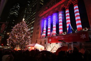 New York Stock Exchange (NYSE) Decorated for the holidays