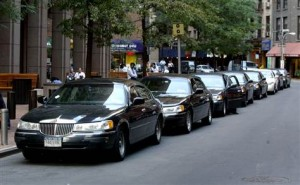 Several Limos Parked on New York City Streets