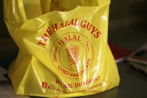The Typical Yellow Plastic Bag of The Halal Guys